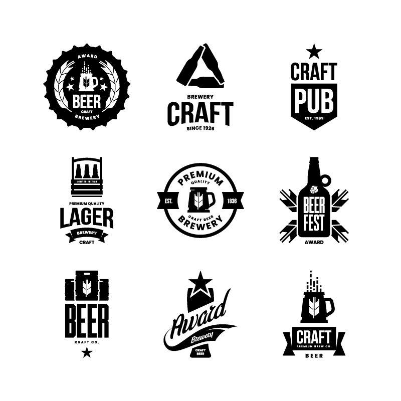 现代工艺啤酒饮料孤立矢量标志酒吧-酒吧-商店-啤酒厂或啤酒厂-优质杯子-酒桶-瓶标志-标志-插图集-啤酒节T恤徽章设计包