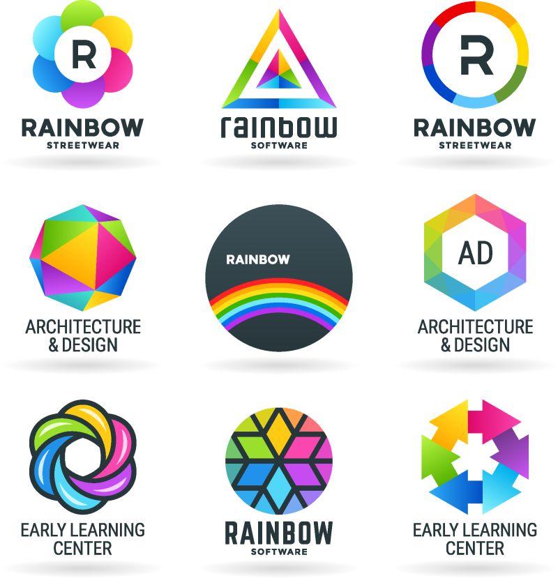 抽象彩虹符号集