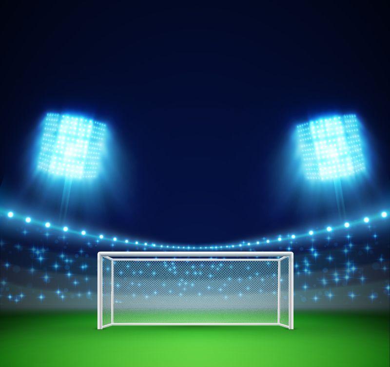 带灯光和论坛的足球场