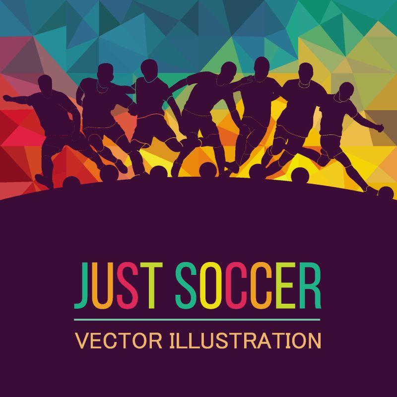 彩色运动背景-足球-足球-篮球-曲棍球-拳击-网球-棒球-矢量图彩色人物轮廓