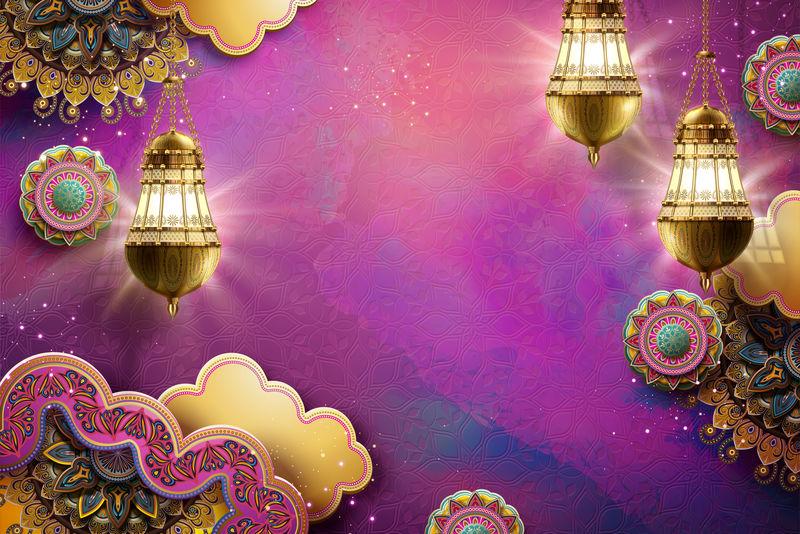 伊斯兰艺术紫红色背景