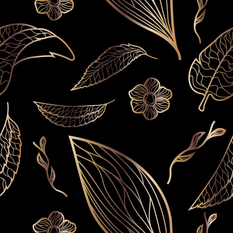 矢量金色植物图案