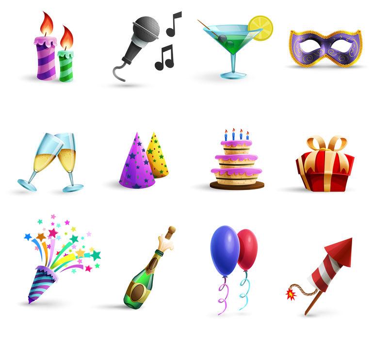 庆祝活动彩色卡通风格图标集