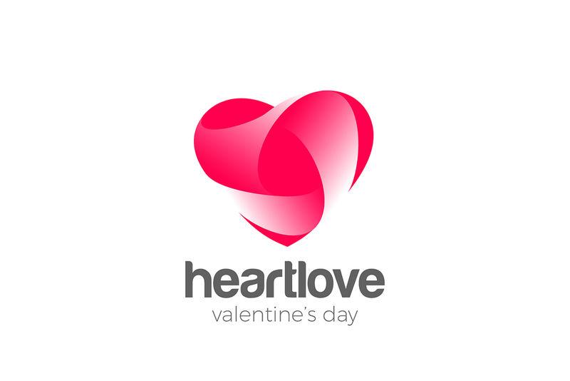 爱心标识爱心设计矢量模板-心脏病学医学符号标志-情人节概念图标