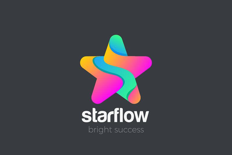 星标彩色几何友好设计矢量模板-最喜爱的获奖者奖标识概念符号图标