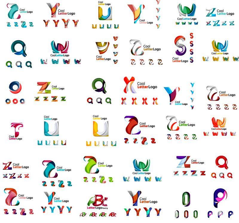 矢量抽象公司标志大集合-印刷字体等元素-波浪-线条-各种各样的通用图标集
