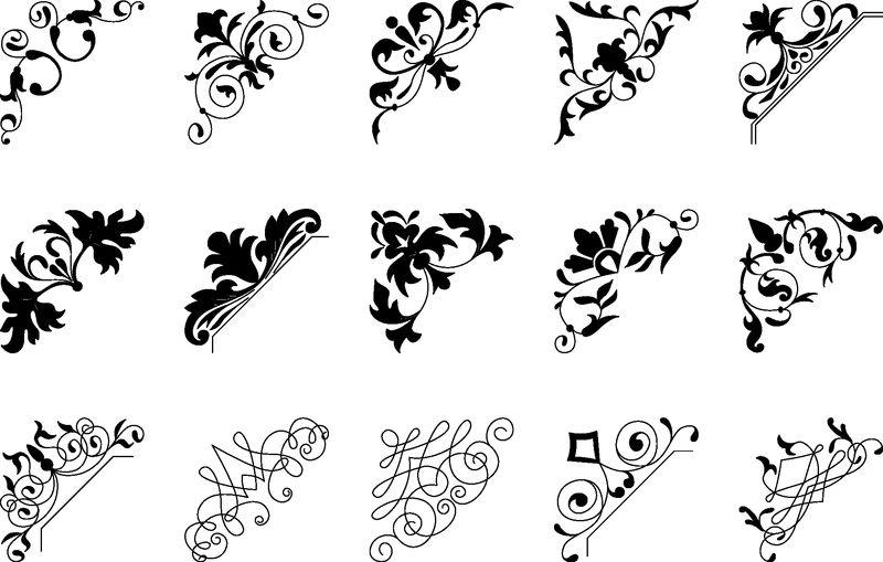 黑色复古角系列-任何设计的装饰性花卉元素-可用于婚礼、浪漫邀请小插曲、祝贺等设计
