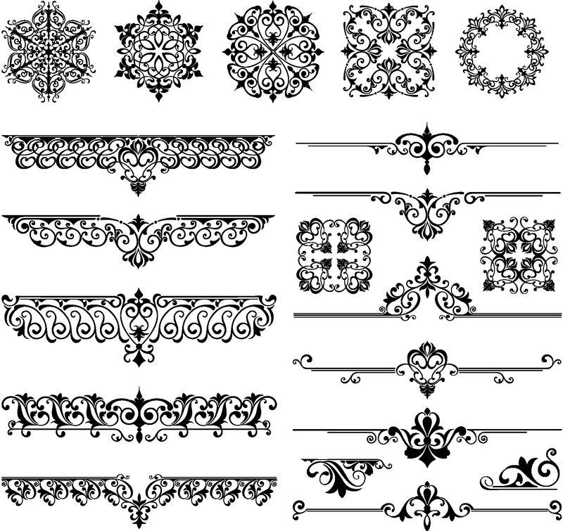 装饰元素花卉复古角框边框贴纸艺术装饰设计插图白色背景
