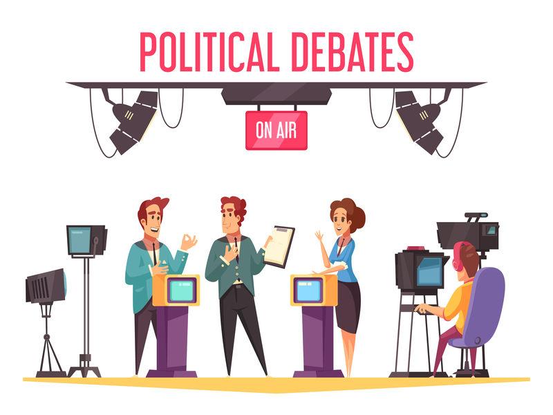 电视政治辩论插画