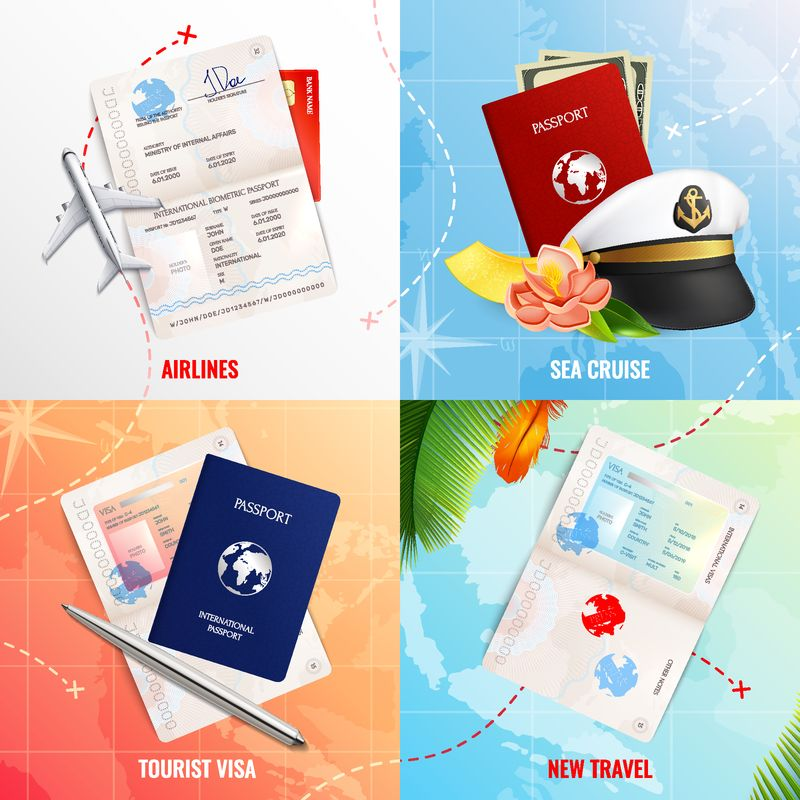 航空和海上旅行2x2广告设计概念-带有生物识别护照模型和签证戳真实图标矢量图