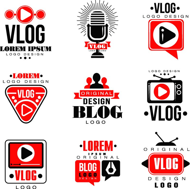 vlog和blog原始徽标设计集视频博客或视频通道徽章矢量插图