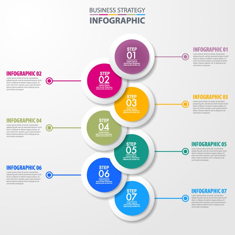 商业信息图表-战略-时间线-设计模板插图-向量EPS10