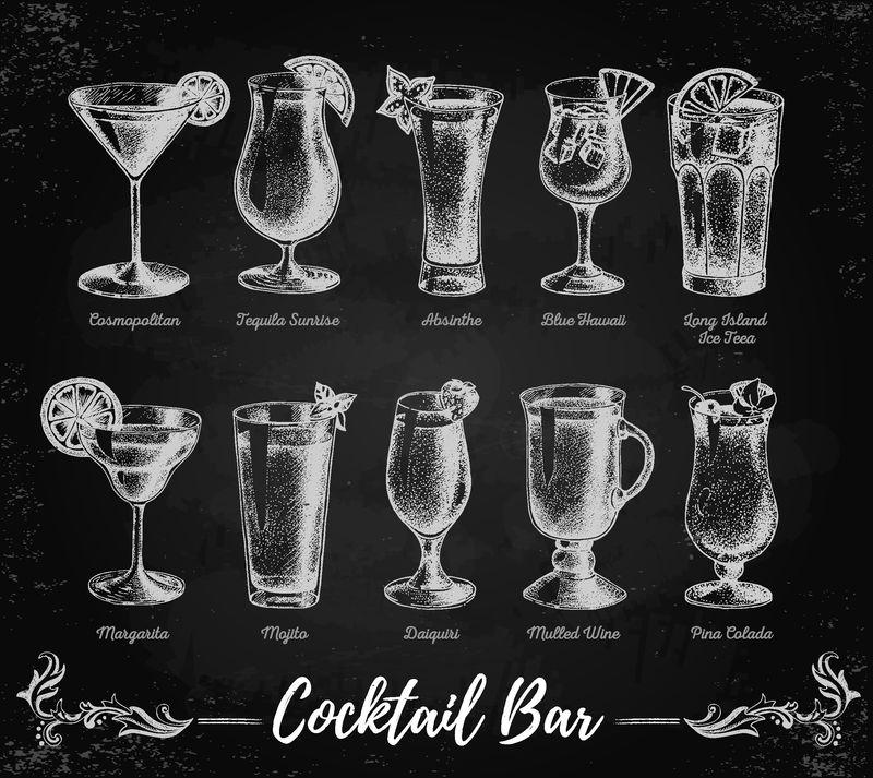 古典粉笔画鸡尾酒酒吧菜单-素描艺术