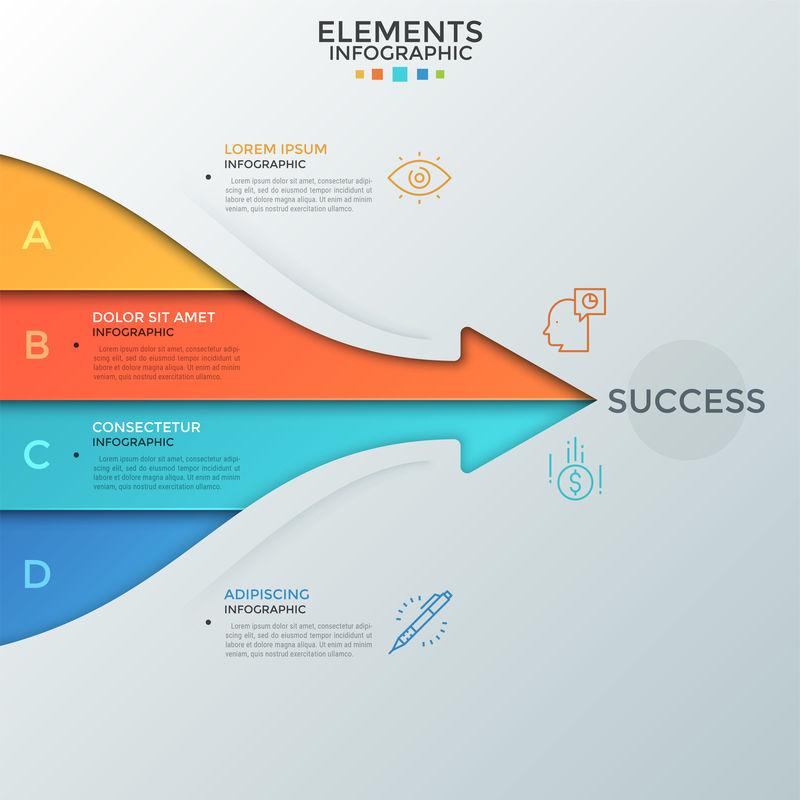 箭头由四条彩色条纹组成-其中的文字指向成功词-成功发展的四个基本要素的概念-信息图形设计布局-矢量图