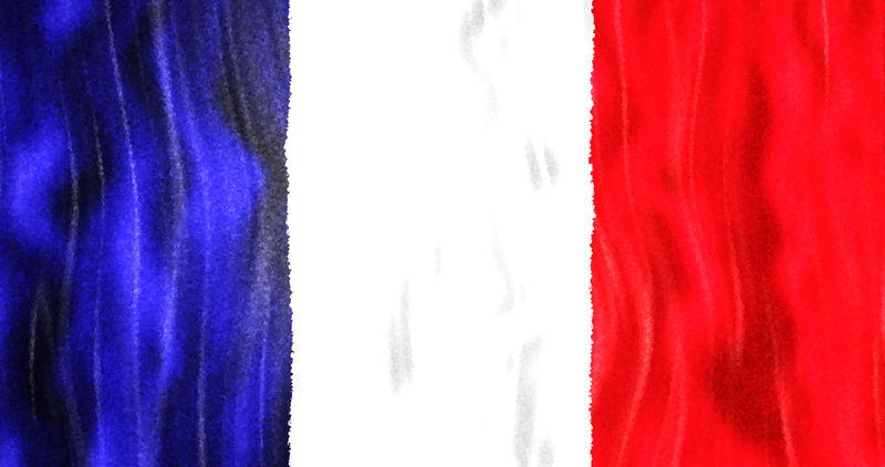 以法国国家三色特写为背景