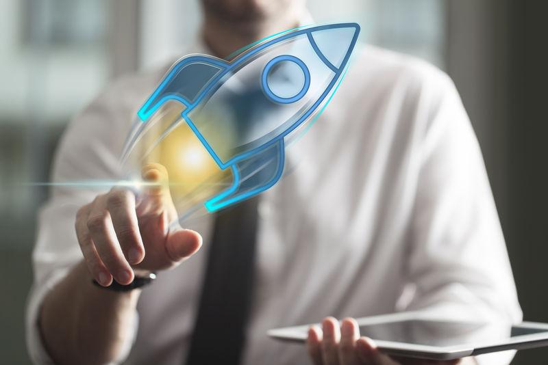 创业企业理念关于创业公司、商家触摸火箭图标
