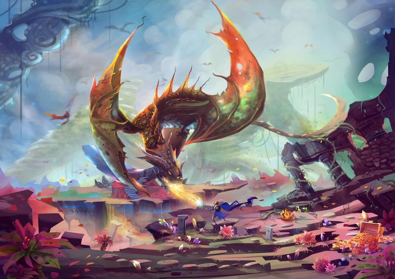 创意插画与创新艺术:宝地骑士与龙搏斗。逼真、梦幻般的卡通风格艺术作品场景、壁纸、故事背景、卡片设计