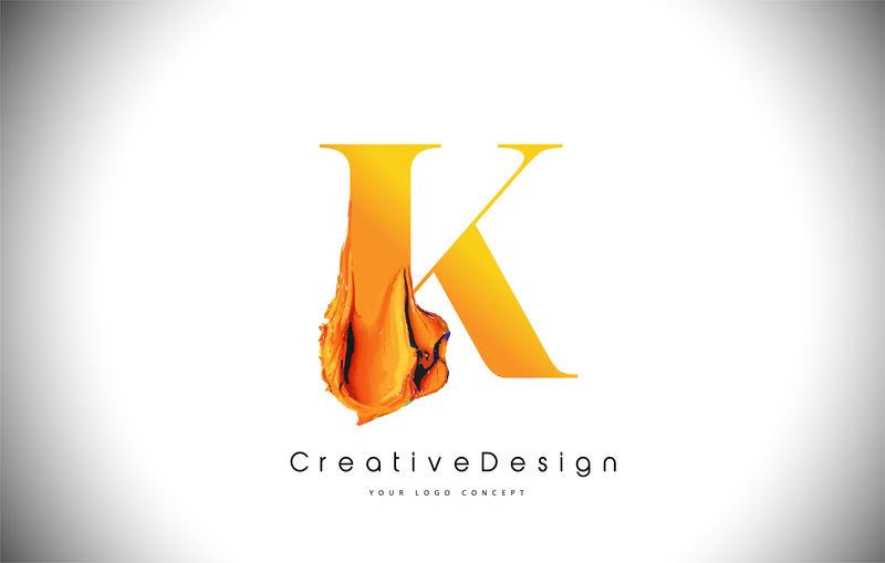 K橙色字母设计刷油漆笔画金黄色K字母