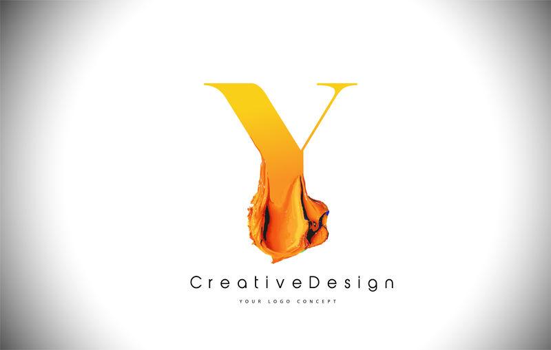 Y橙色字母设计刷油漆笔画金黄色Y字母