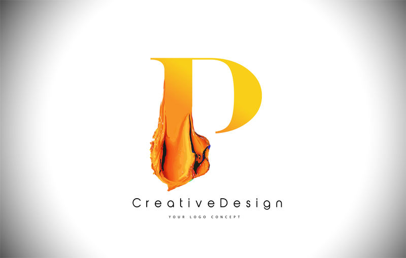 P橙色字母设计刷油漆笔画金黄色P字母