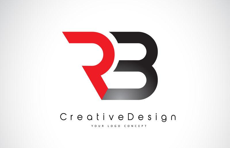 红色和黑色RB R B字母标志设计为黑色-创意现代字母矢量图标标志插图