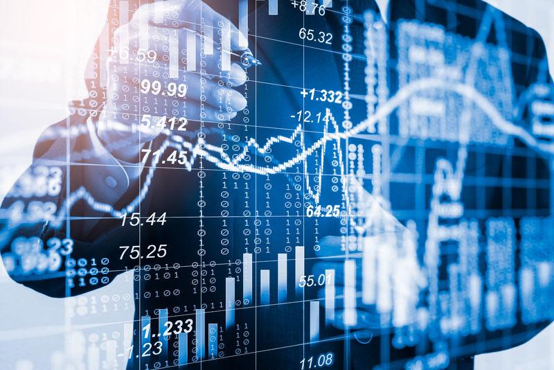二次曝光的商人和股票市场或外汇图表适用于金融投资的概念-经济趋势背景下的商业理念和所有艺术作品的设计-抽象金融背景