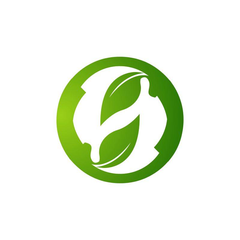 环保标识矢量概念。生态标识。生态绿色图标G