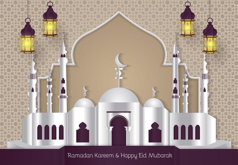 斋月卡雷姆和快乐开斋节穆巴拉克的时尚背景与清真寺和灯笼图标元素矢量