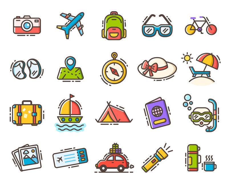 一套高品质的平面娱乐和游戏图标-收集旅游、旅游、休闲、度假、度假、预订的矢量图标-信息图形设计元素集合-网络图形