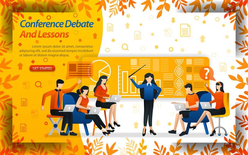 会议辩论和教训-女教授商科和学生们正在辩论-概念向量论-可用于登录页、模板、UI、Web、移动应用程序、海报、横幅、传单、网站