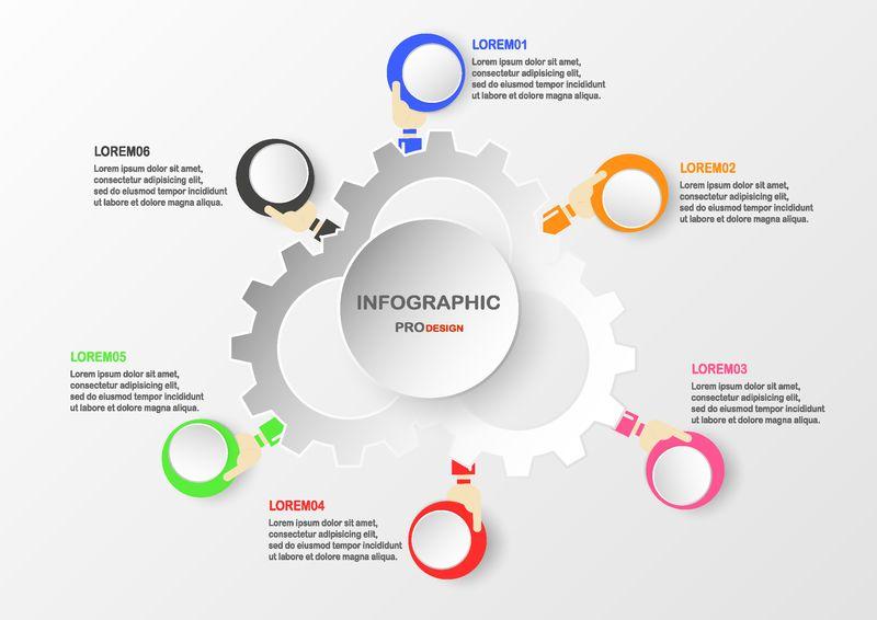 用手持彩色圆盒抽象信息图形元素-用于业务演示、模板、网页横幅和动态图形的图表-以及文本空间