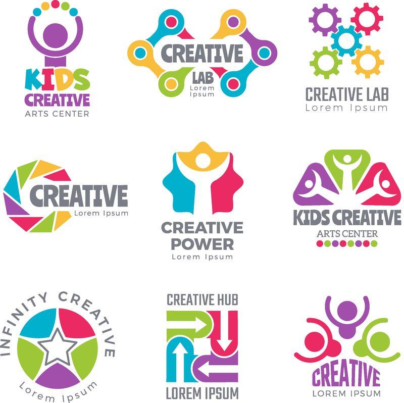 创意标识模板-丰富多彩的抽象标识-为开发者创造科学符号-思考图标-矢量元素-创意logo抽象-logo布景色彩