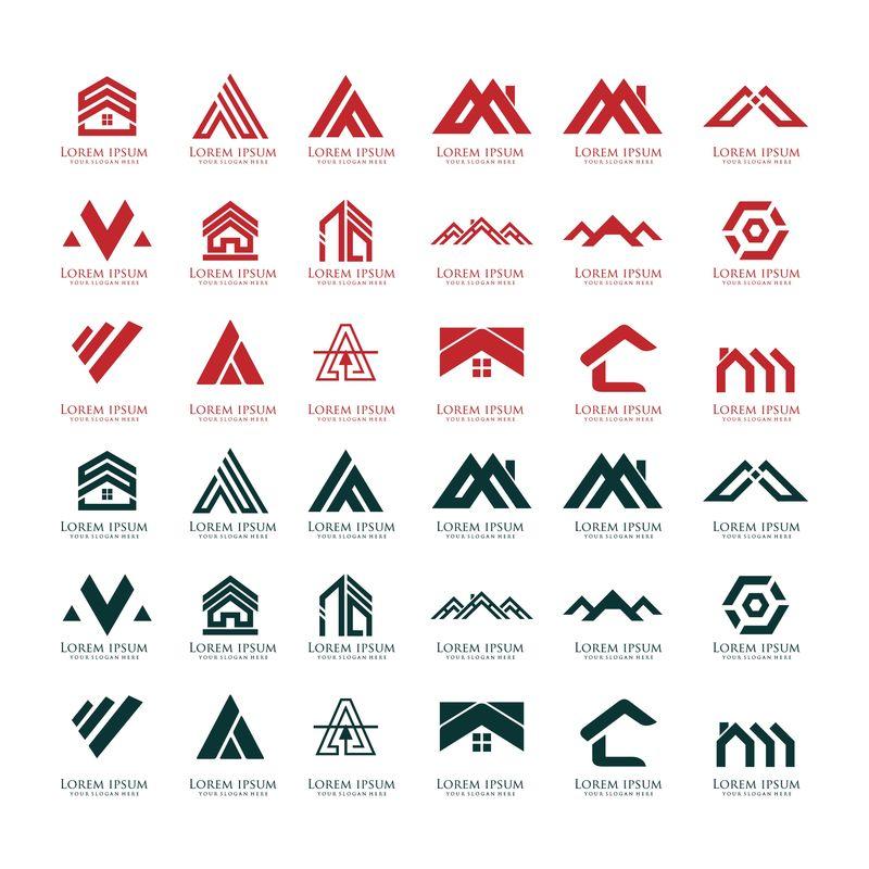 大集合房地产建筑和建筑标识矢量设计