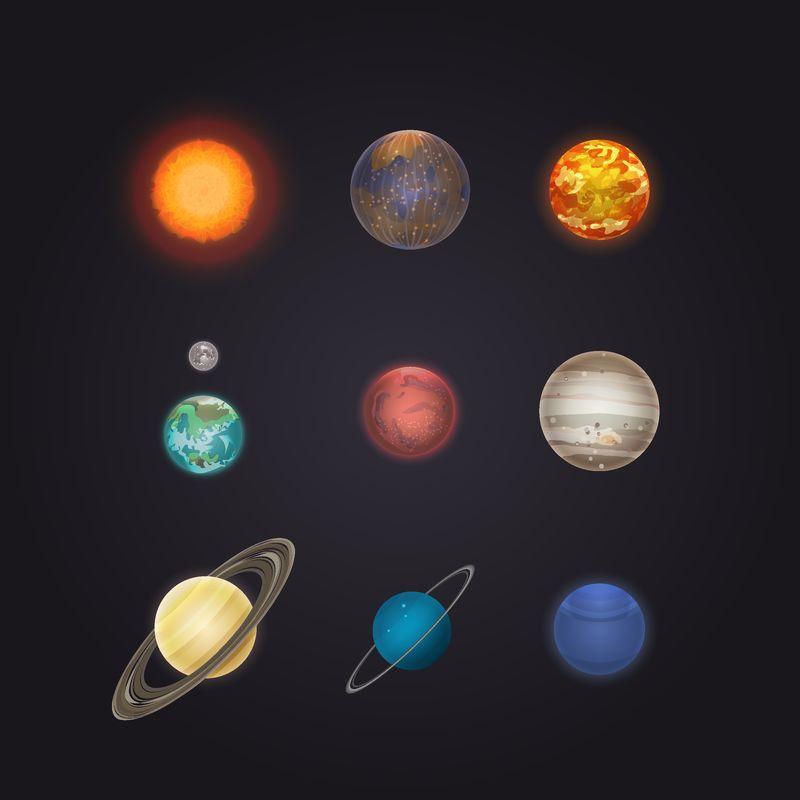 太阳和太阳系行星信息图-水星、金星、地球、海王星、月亮、天王星、土星、木星、火星和冥王星矢量图-天文科学空间研究-行星发现