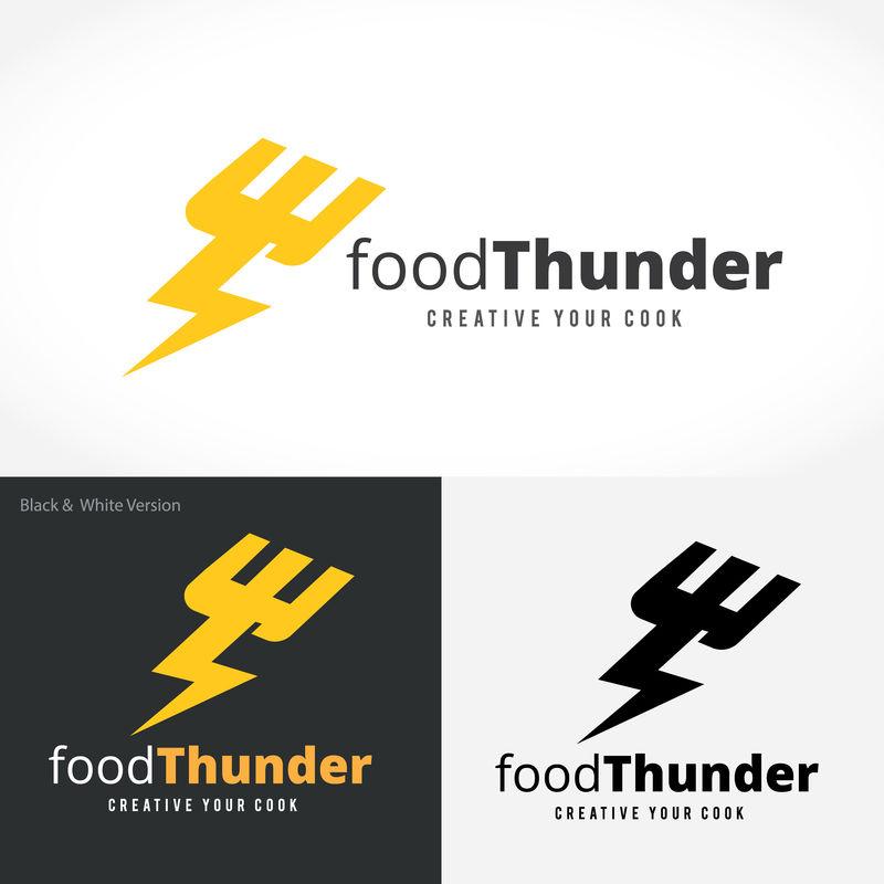 美食雷鸣标识、烹饪标识、餐厅标识、小酒馆标识、矢量标识模板
