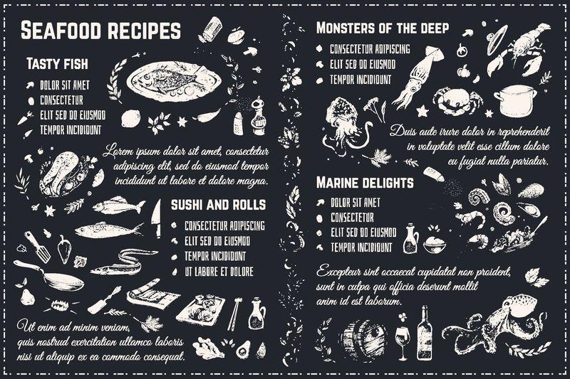 海鲜素描-黑板上的孤立矢量粉笔-设计4份餐厅菜单、食谱和包装纸-涂鸦图标