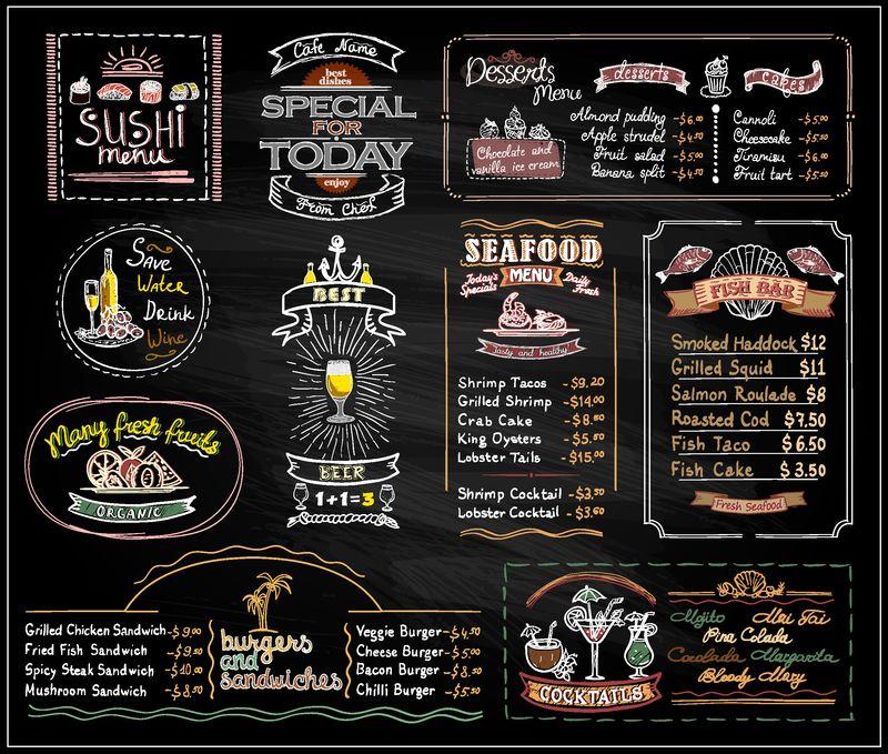 粉笔菜单列表为咖啡馆或餐厅设置的黑板设计-寿司菜单-甜点-海鲜-鱼排-鸡尾酒-啤酒-汉堡和三明治-复制空间模型手绘插图