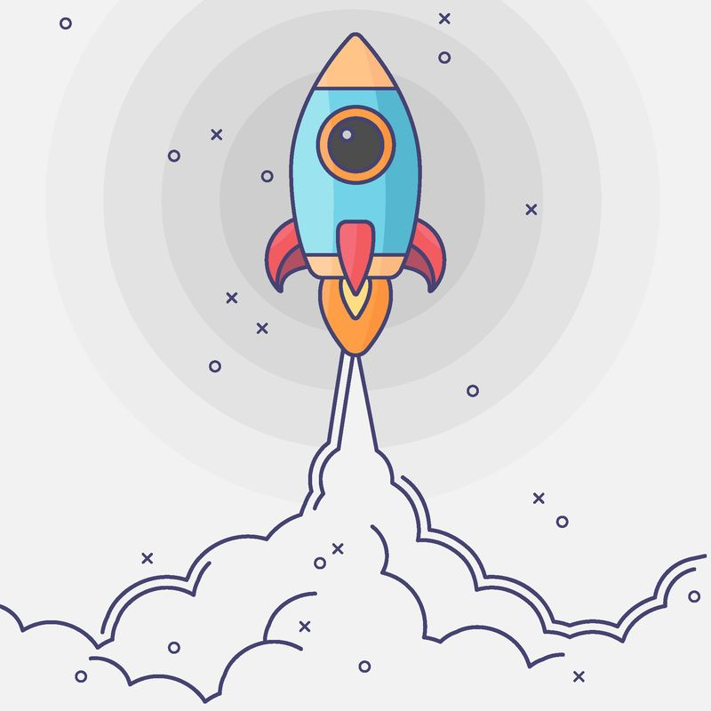 极简火箭发射平面图标-火箭插图与云-空间和发射火-平面现代艺术