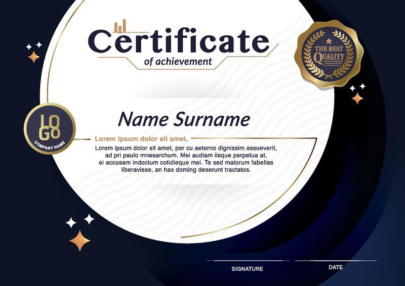 成就证书-金蓝色教育证书、奖项、获奖者、金光闪闪的贵宾设计