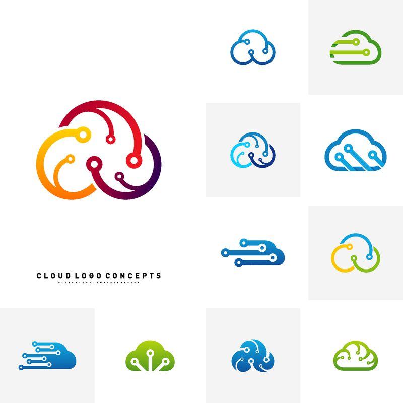 云技术标志设计概念向量集-技术云徽标模板向量