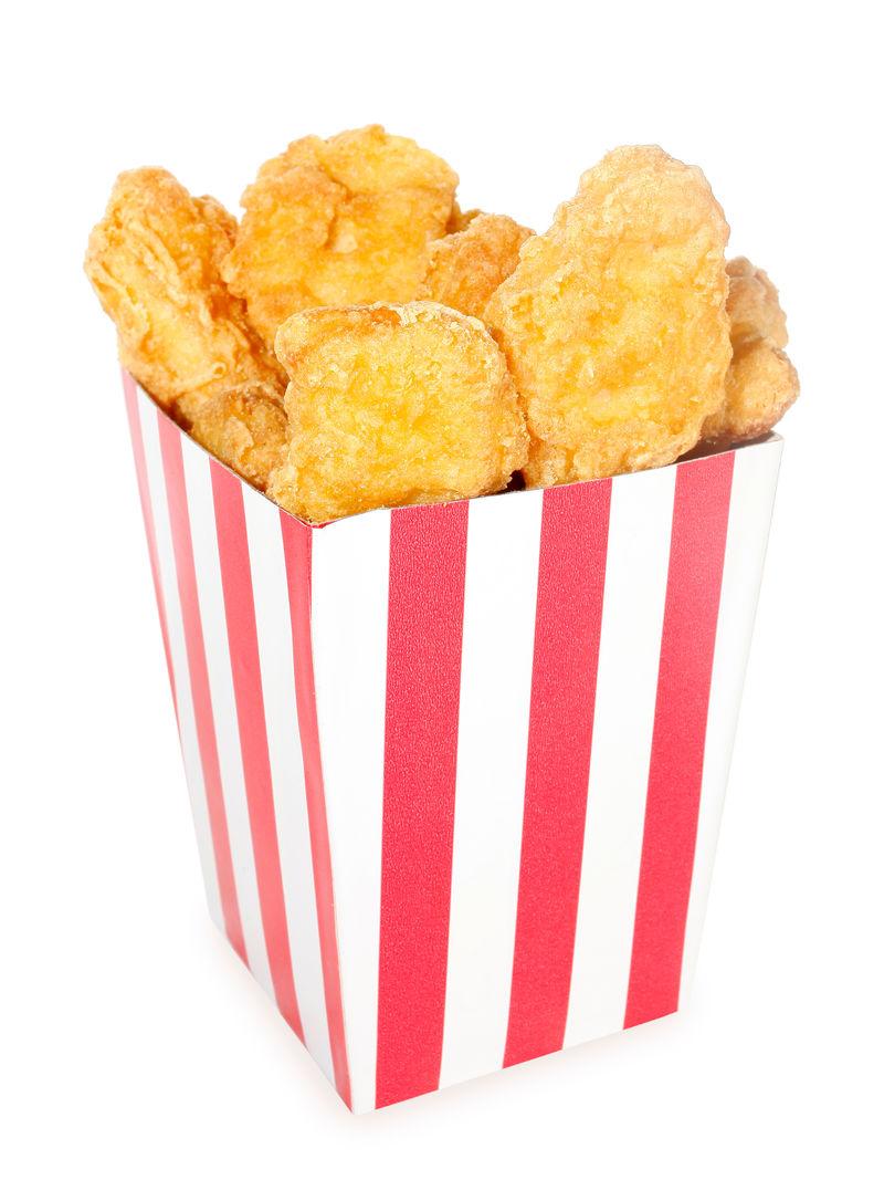 红白条纹盒炸鸡块
