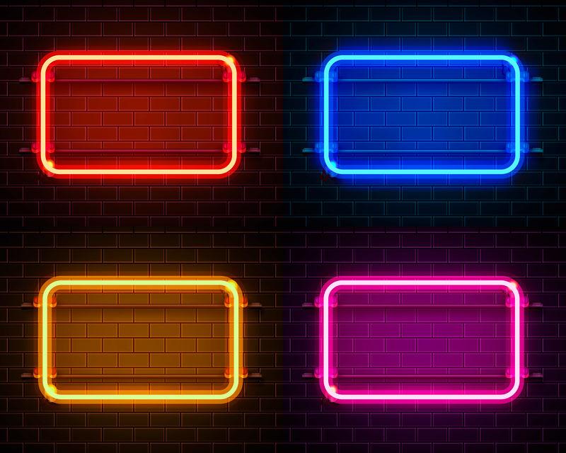方形霓虹灯框架标志