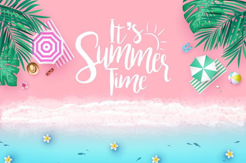 顶视图海滨海滩度假酒店背景-带有棕榈树热带树叶雨伞太阳镜球和拖鞋的时尚背景色-以及创意横幅设计