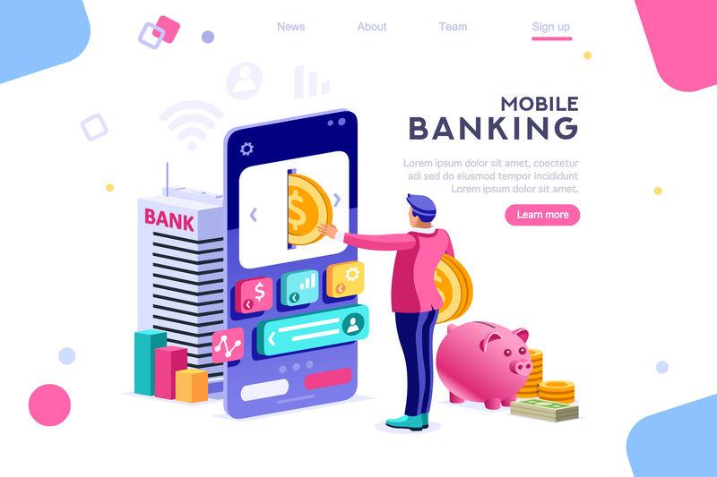 在智能手机上存钱的银行。货币横幅,钞票的信息图形存款概念,英雄形象。平面等轴测矢量图。白色背景之间、空白空间之间的Web横幅