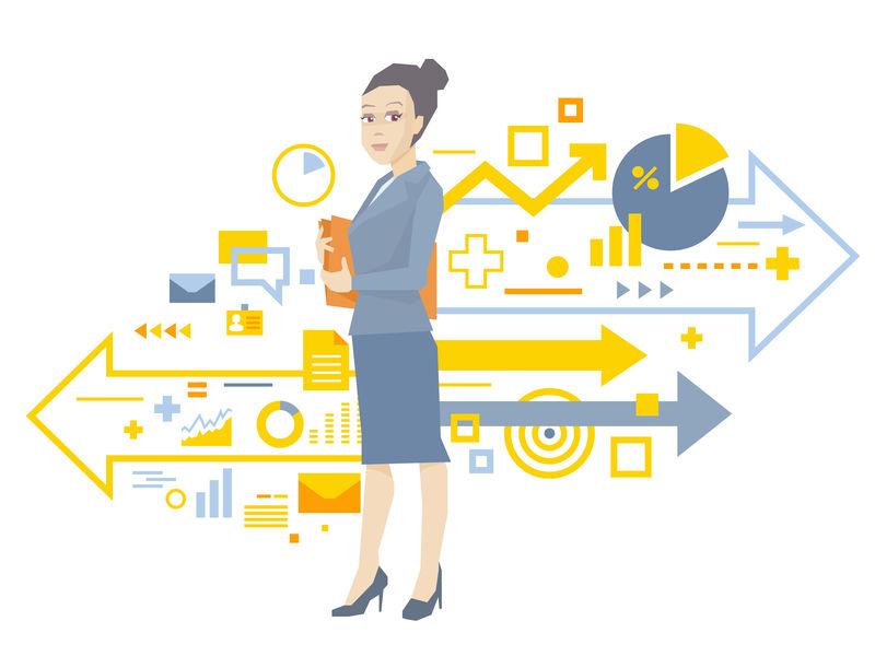 一位女性经理的矢量图——手拿文档的文件夹——靠近白色背景下的业务流程方案。
