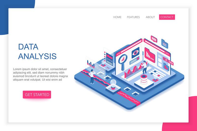 数据分析,大数据分析,现代三维等距矢量网站登陆页面模板。人们与虚拟屏幕图表交互并分析统计数据。