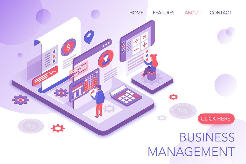 财务管理,企业统计,商业营销现代三维等距矢量网站登陆页面模板。人们与虚拟屏幕图表交互并分析统计数据。