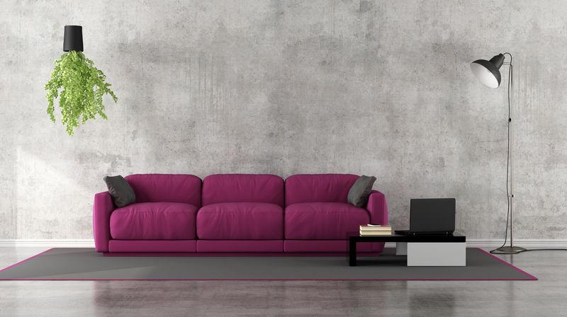 带紫色沙发的简约客厅