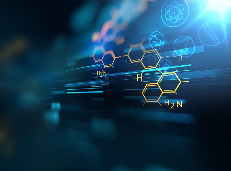 化学科学、医学物质和分子背景3D