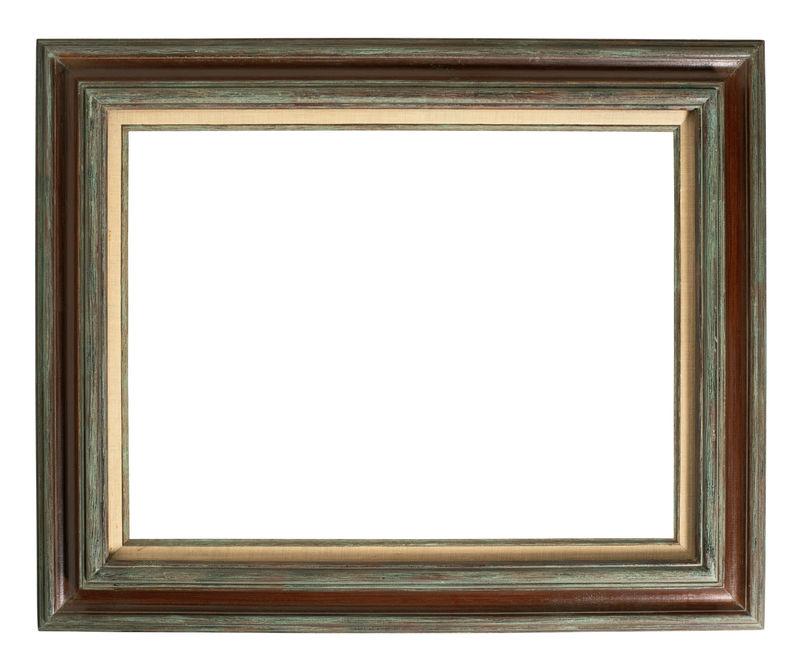 白色背景上的老式棕色和金色框架-独立